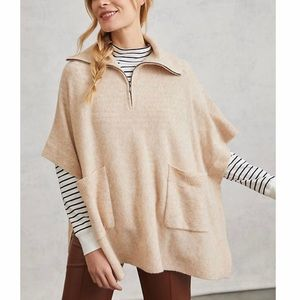 ANTHROPOLOGIE 1/4 Zip Poncho in Camel, NEW!